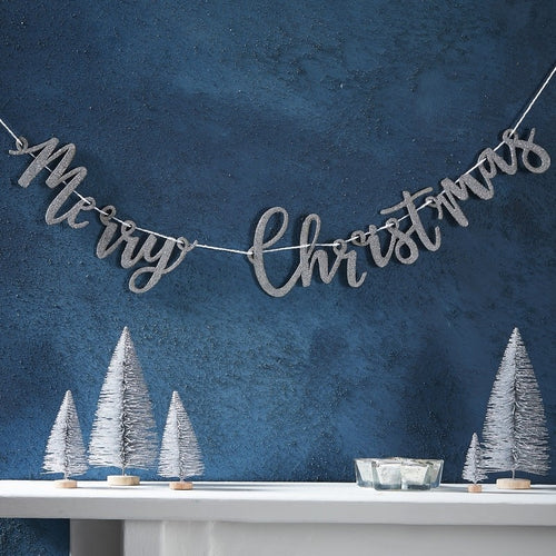 Ginger Ray Silver Glitter Merry Christmas Wooden Bunting