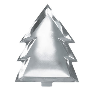 Ginger Ray Silver Foiled Christmas Tree Paper Plates
