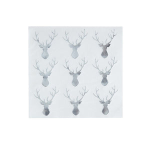 Ginger Ray Silver Foiled Stag Paper Cocktail Napkins