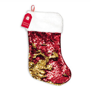 Reversible Red & Gold Sequin Stocking