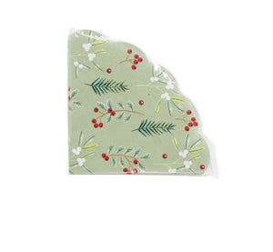 Talking Tables Botanical Berry Scalloped Napkins Pack of 20