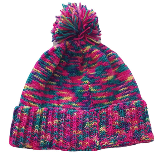 The Woolly Robyn Hand-Knitted Adult Bobble Hat Multicoloured