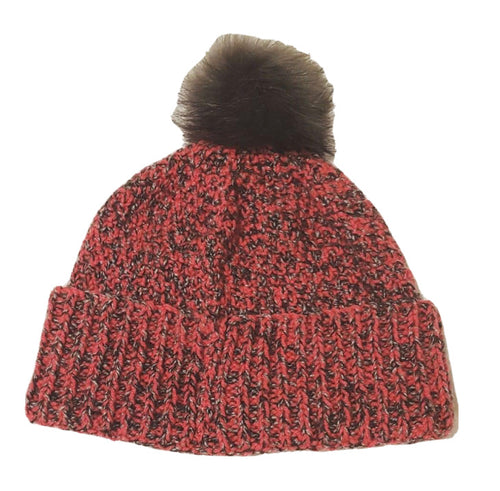 The Woolly Robyn Hand-Knitted Adult Bobble Hat Pink & Grey