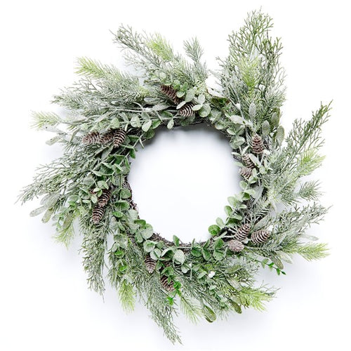Pine and Mistletoe Frosted Wreath