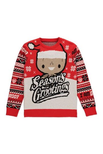 Marvel Guardians of the Galaxy Knitted Christmas Jumper Season's Grootings Adult Unisex