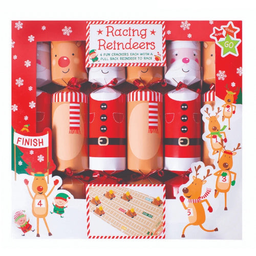 Racing Reindeers Christmas Crackers - 12
