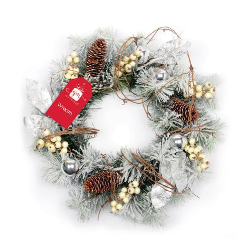 White and Cream Wreath 35cm Diameter