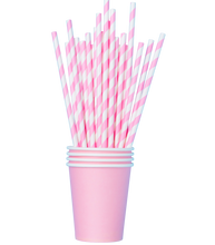 Load image into Gallery viewer, Pink Biodegradable Classic Twirl Straws x 20
