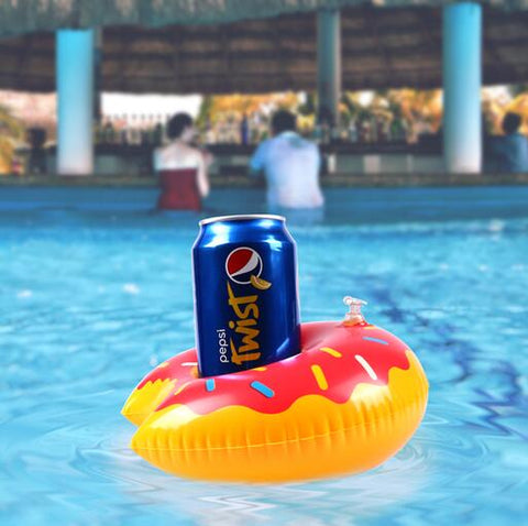 Inflatable Pool Coaster: Red Donut with Sprinkles