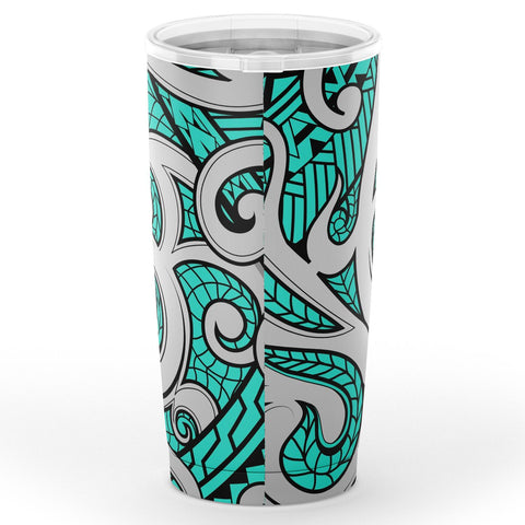 Image of Hawaii Polynesian Maori Ethnic Ornament Turquoise Tumbler - AH - J6 - Alohawaii