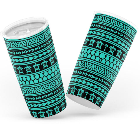 Hawaii Polynesian Tattoo Tribal Turquoise Tumbler - AH - J6 - Alohawaii