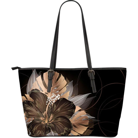 Hawaii Classic Hibiscus Gold Large Leather Tote - AH J2 - Alohawaii