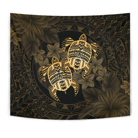 Alohawaii Tapestry - Turtle Strong Pattern Hibiscus Plumeria Gold