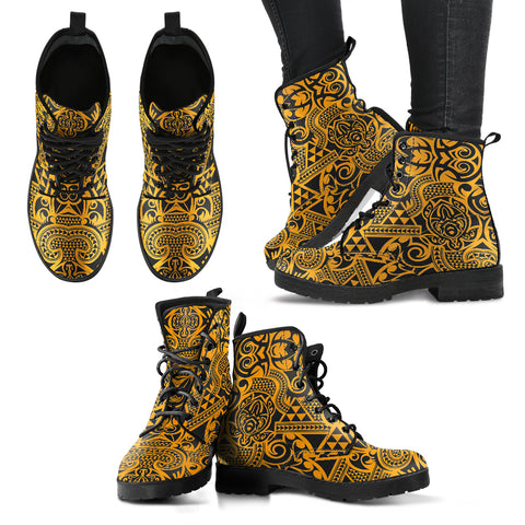 Polynesian Leather Boots Yellow Black - AH - J1 - Alohawaii