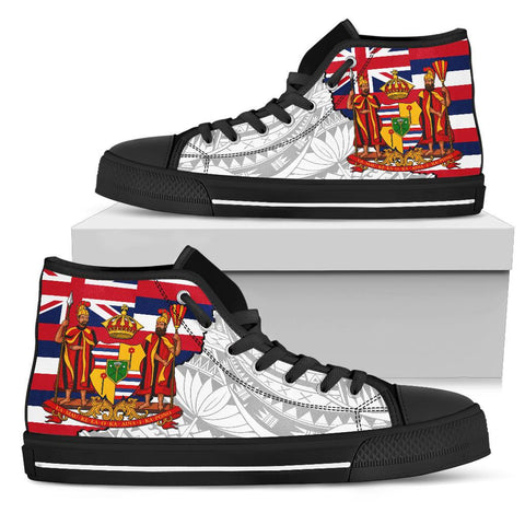 Hawaii High Top Shoes State Royal Flag Polynesian White Pride