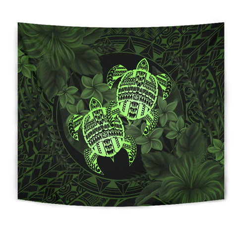 Alohawaii Tapestry - Turtle Strong Pattern Hibiscus Plumeria Green
