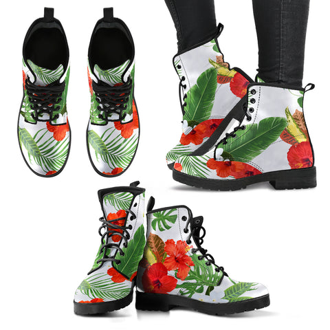 Image of Hawaii White Hibiscus Palm Leather Boots - AH J2 - Alohawaii