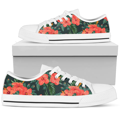 Hawaii Red Hibiscus Palm Pattern Low Top Shoe - AH