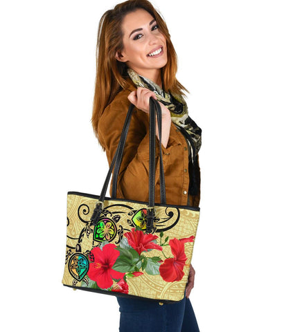 Hawaiian Marble Turtles Hibiscus Leather Tote Bag Small | Alohawaii.co