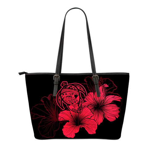 Hawaii Hibiscus Small Leather Tote Bag - Turtle Map - Calico Red - AH J9 - Alohawaii
