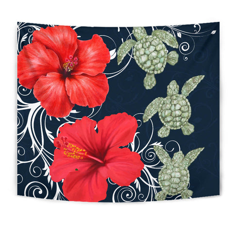 Hawaii Deep Blue Hibiscus Turtle Tapestry