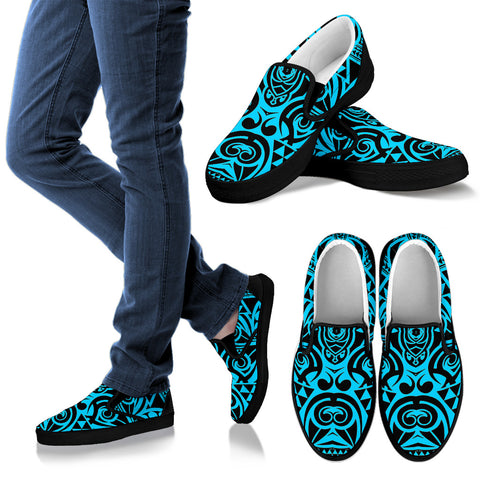 Polynesian Slip Ons Grown Blue White - AH - J1 - Alohawaii