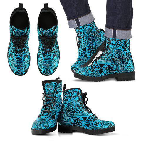 Polynesian Leather Boots Grown Blue White - AH - J1 - Alohawaii