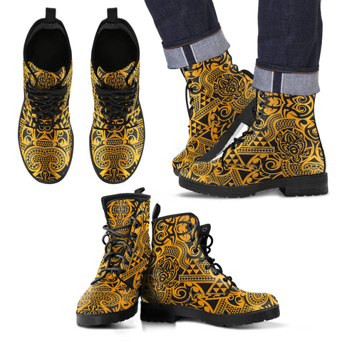 Image of Polynesian Leather Boots Yellow Black - AH - J1 - Alohawaii