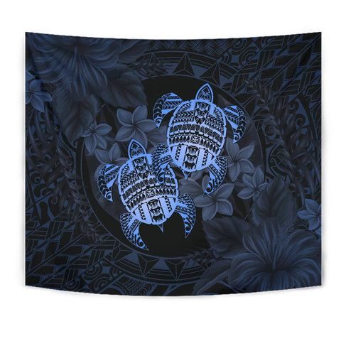 Alohawaii Tapestry - Turtle Strong Pattern Hibiscus Plumeria Blue
