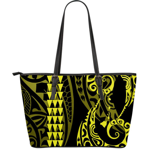 Hawaii Kakau Yellow Polynesian Large Leather Tote - AH - J1 - Alohawaii