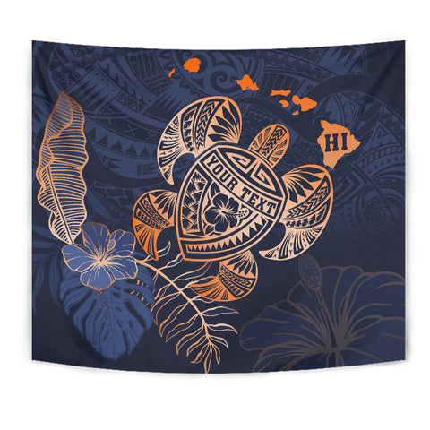 Personalized - Hawaii Kakau Polynesian Turtle Map Tapestry - Special Indigo - AH - J6