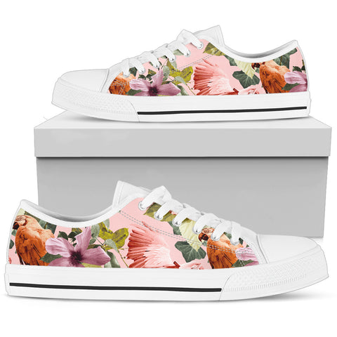 Hawaii Pink Hibiscus Palm Pattern Low Top Shoe - AH