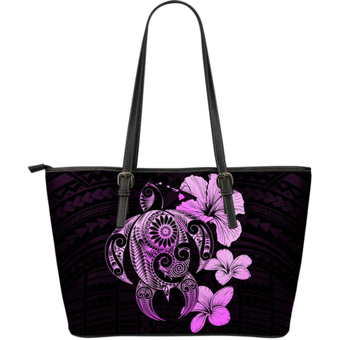 Hibiscus Plumeria Mix Polynesian Pink Turtle Large Leather Tote - AH - J1 - Alohawaii