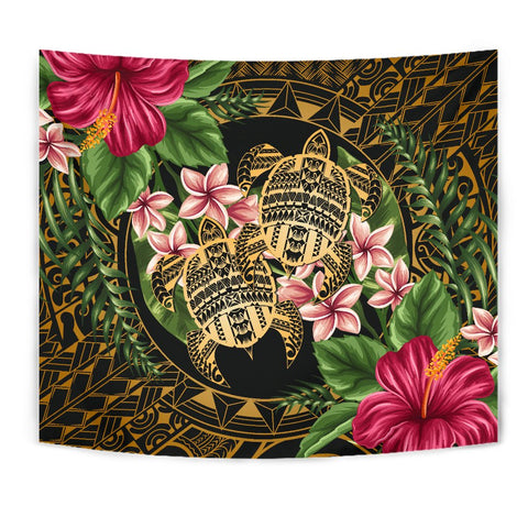 Alohawaii Tapestry - Turtle Strong Pattern Hibiscus Plumeria Art