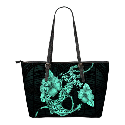 Anchor Turquoise Poly Tribal Small Leather Tote - AH - J1 - Alohawaii