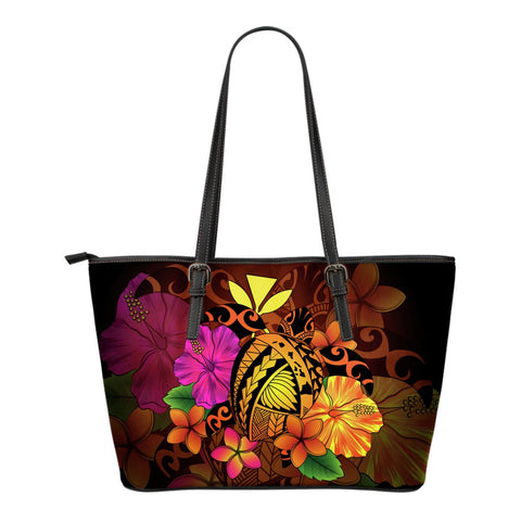 Hawaii Turtle Tribal Map Hibiscus Plumeria Small Leather Tote - AH J9 - Alohawaii