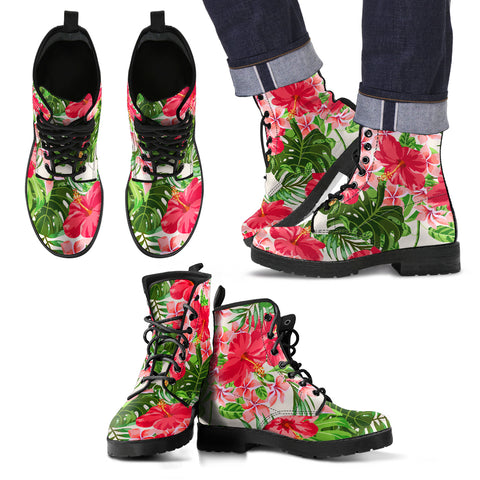 Image of Hawaii Pink Hibiscus Leather Boots - AH J2 - Alohawaii