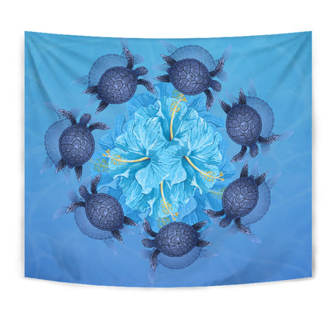Hawaii Turtle Hibiscus Blue Tapestry - AH - J4 - Alohawaii