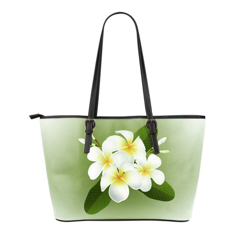 Plumeria Small Leather Tote Bag - AH - Alohawaii