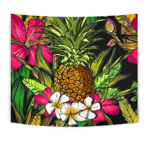 Hawaii Tropical Flowers Pineapple Tapestry