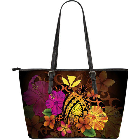 Hawaii Turtle Tribal Map Hibiscus Plumeria Large Leather Tote - AH J9 - Alohawaii