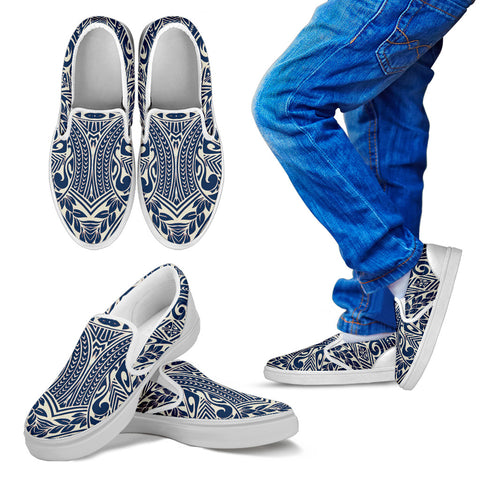 Image of Polynesian Tribal Slip Ons Blue - AH - J1 - Alohawaii