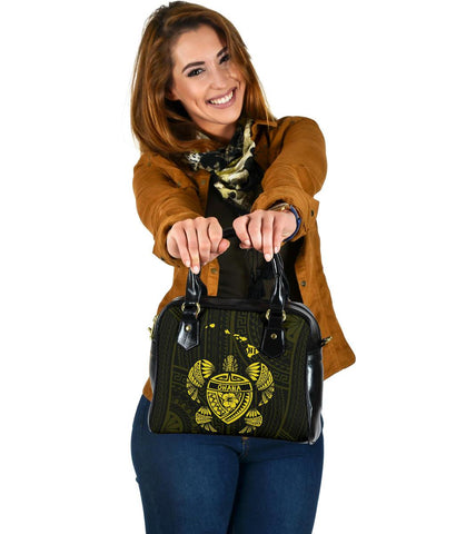 Image of Hawaii Kakau Polynesian Ohana Turtle Map Shoulder Handbag - Yellow - AH - J6 - Alohawaii
