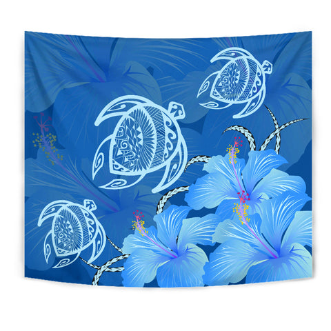 Hawaii Blue Hibiscus Turtle Polynesian Tapestry