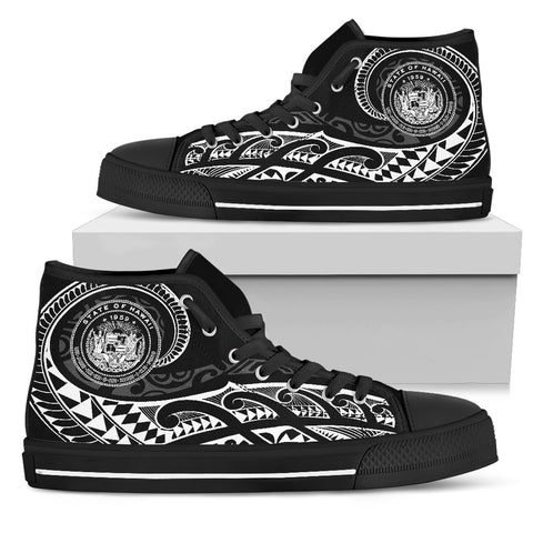 Hawaii State Tattoo Swirly White Polynesian High Top Shoes