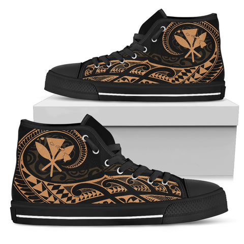 Hawaiian Kanaka State Tattoo Swirly Gold Polynesian High Top Shoes