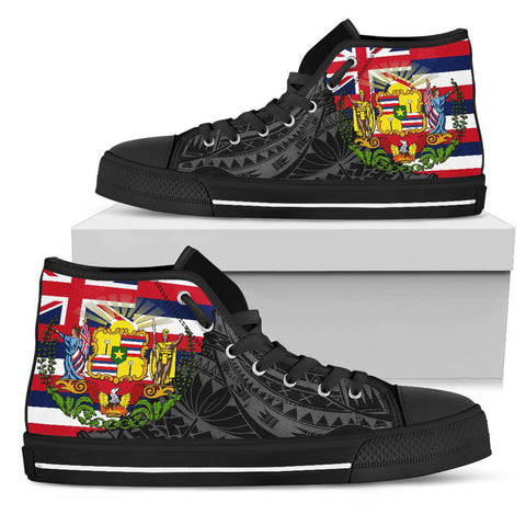 Hawaii High Top Shoes State Flag Polynesian Black Pride