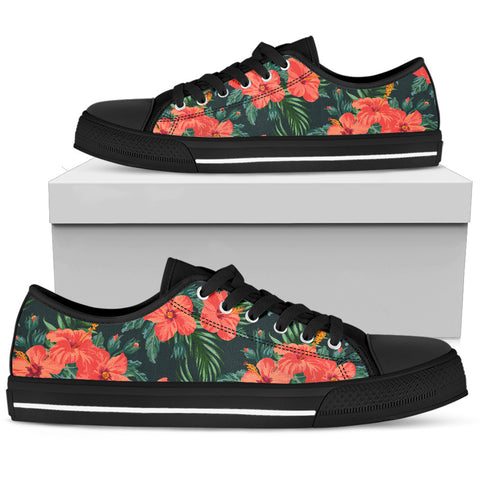 Image of Hawaiian Red Hibiscus Palm Tribal Low Top Shoe - AH