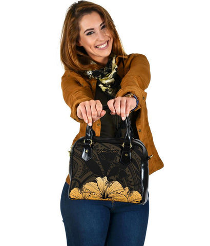 Image of Personalised - Hawaii Royal Hibiscus Polynesian Tribal Shoulder Handbag Gold AH J1 - Alohawaii