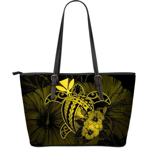 Hawaii Hibiscus Large Leather Tote Bag - Harold Turtle - Yellow - AH J9 - Alohawaii